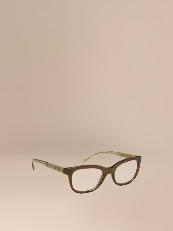Check Detail Oval Optical Frames Olive