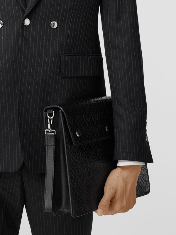 Porte-documents en cuir Monogram à triple pression (Noir) - Homme | Burberry - cell image 2