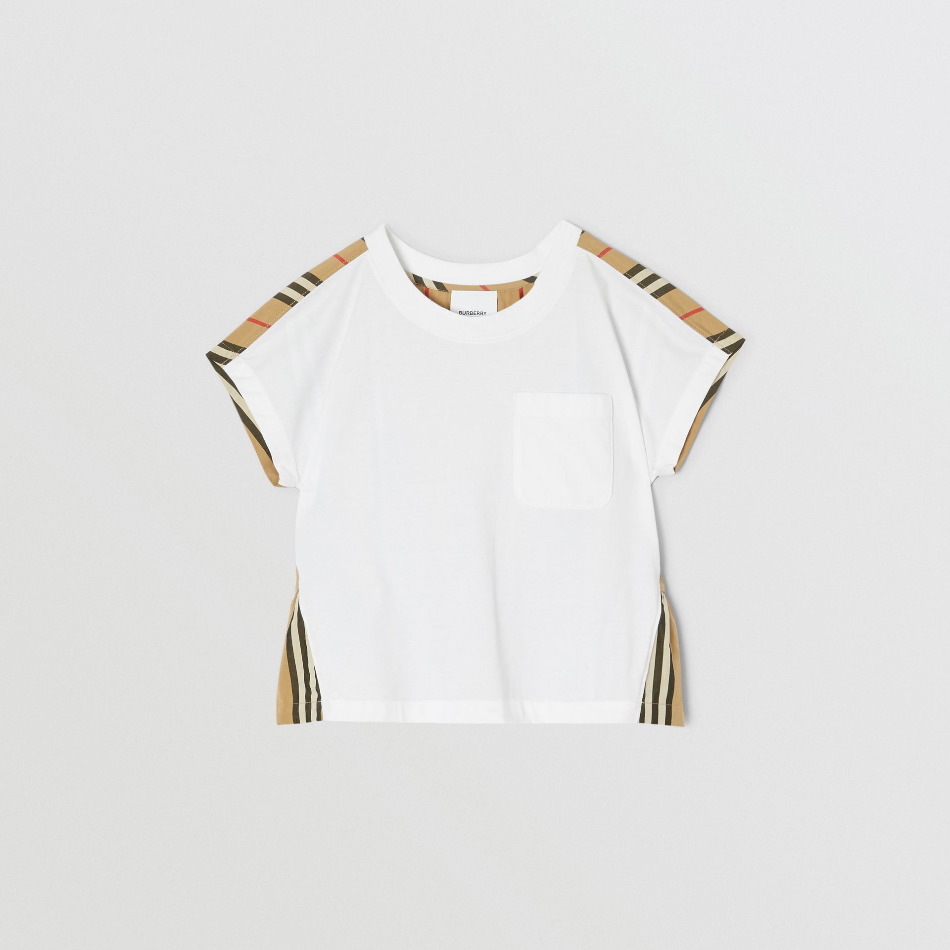 Icon Stripe Panel Cotton T-shirt in White | Burberry - gallery image 0