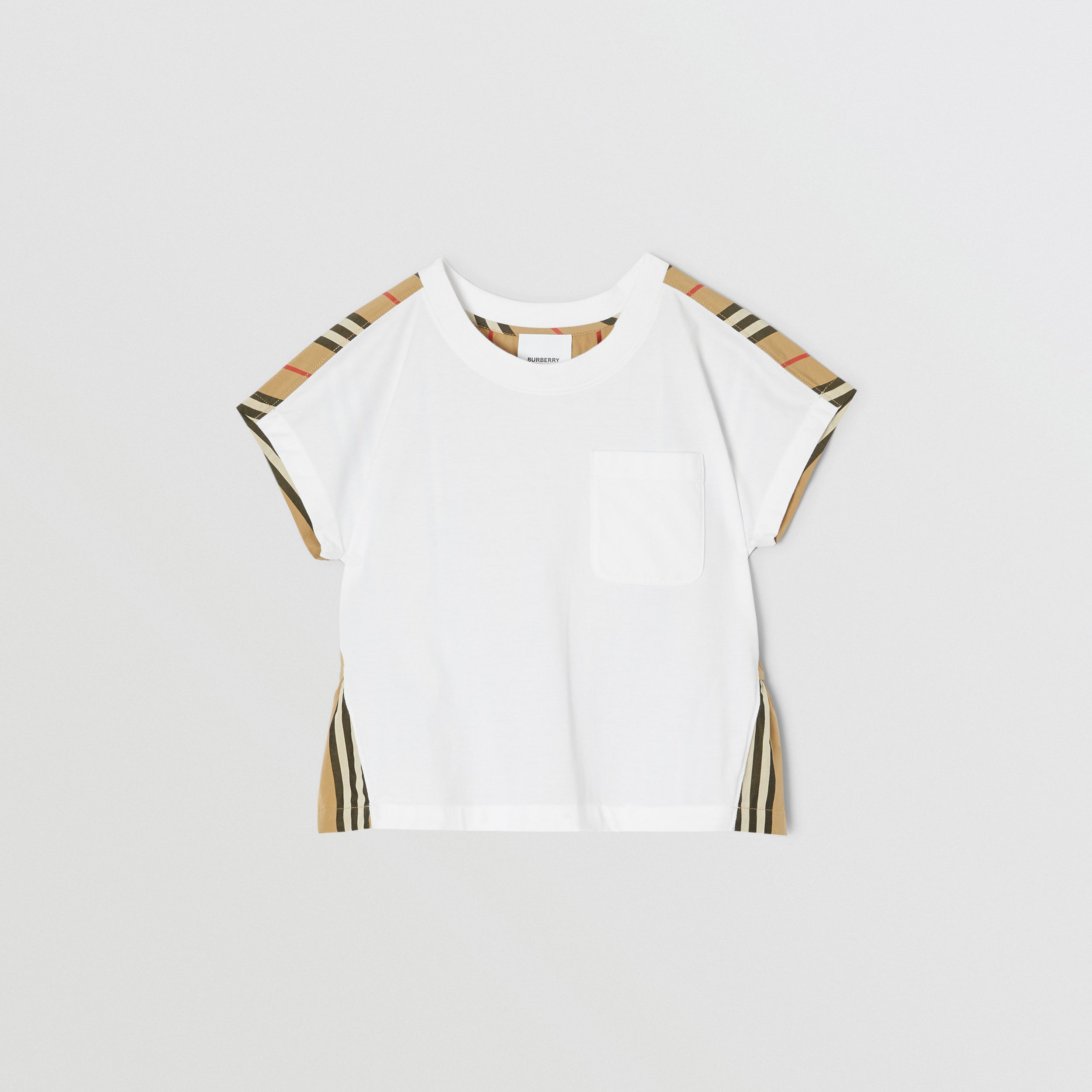 Icon Stripe Panel Cotton T-shirt in White | Burberry - 1