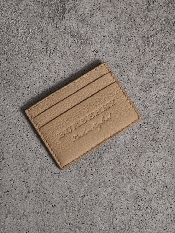 Textured Leather Card Case in Chino