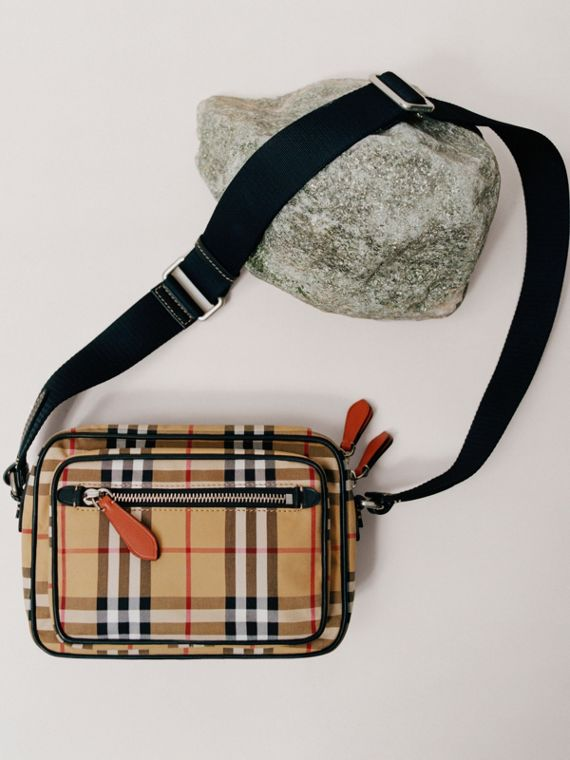Vintage Check and Leather Crossbody Bag in Clementine