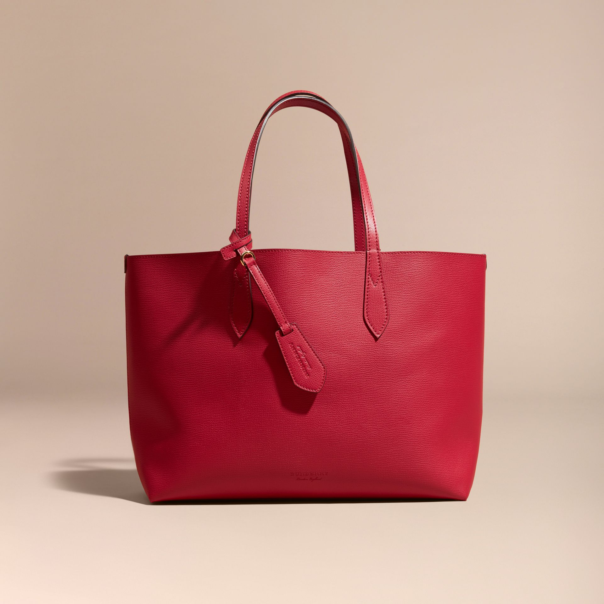 The Medium Reversible Tote in Haymarket Check and Leather Poppy Red - gallery image 8