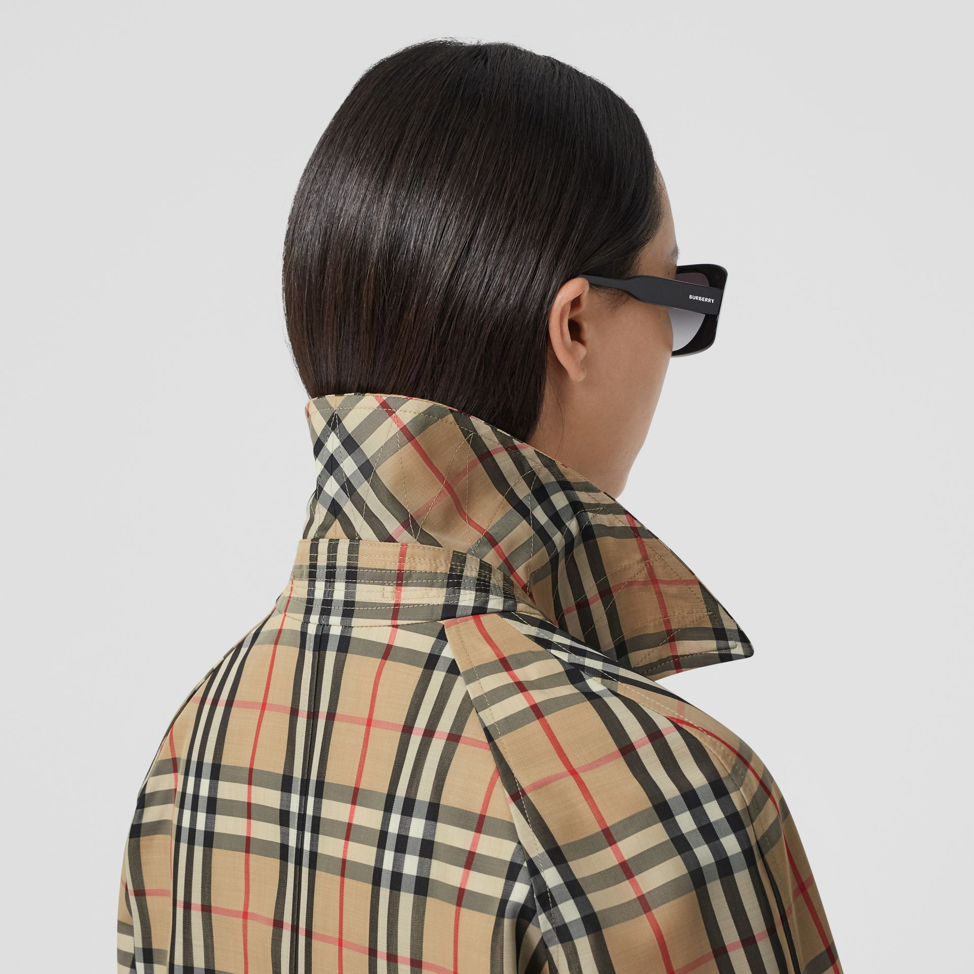Vintage Check Recycled Polyester Car Coat in Archive Beige - Women | Burberry United States - gallery image 5