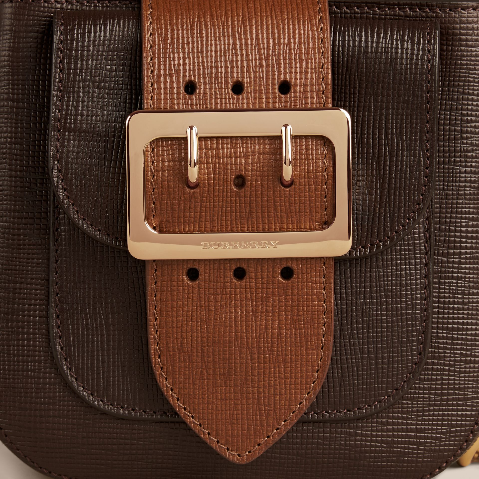 Dark clove brown The Small Square Buckle Bag in Textured Leather - gallery image 5