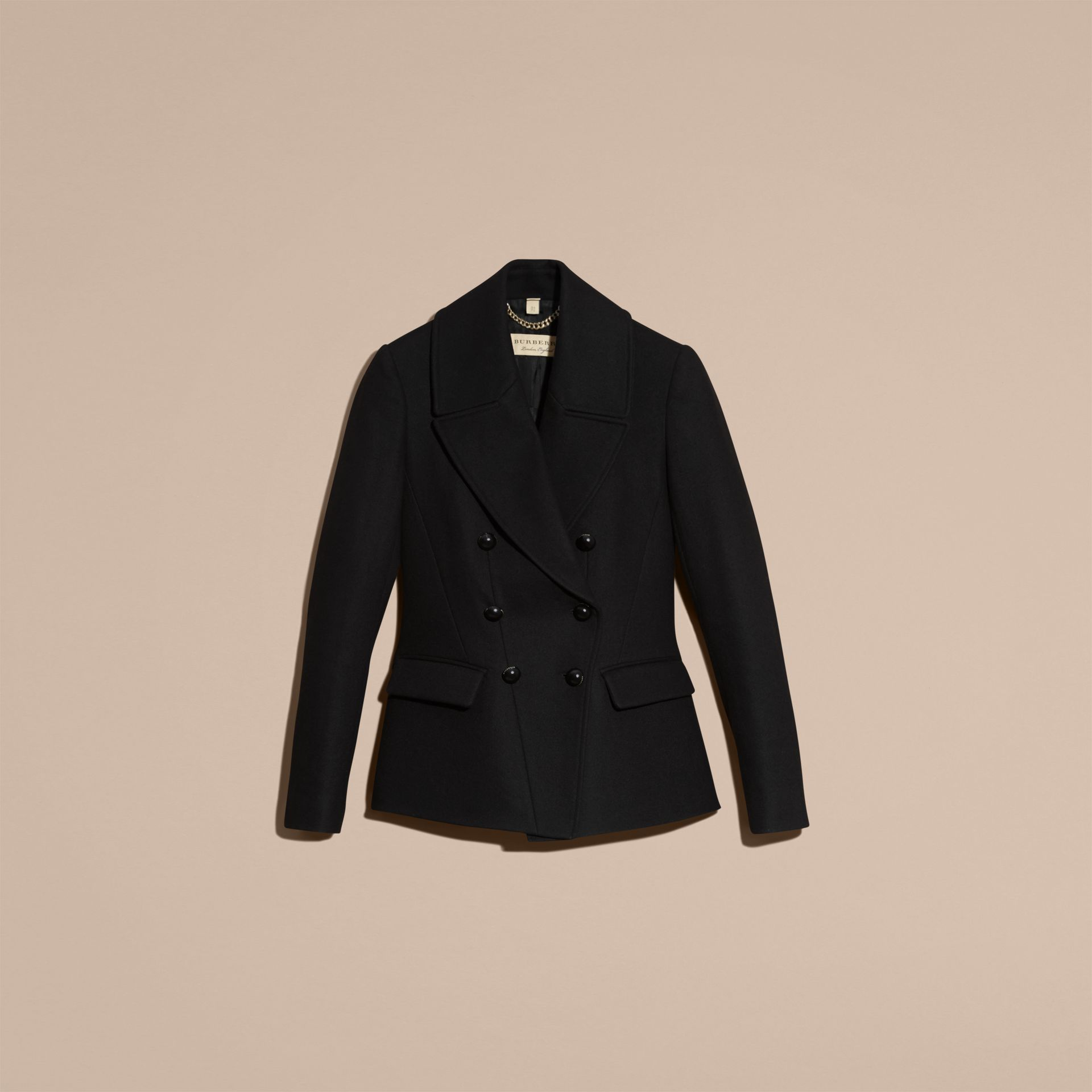 Tailored Wool Blend Jacket in Black - Women | Burberry - gallery image 4