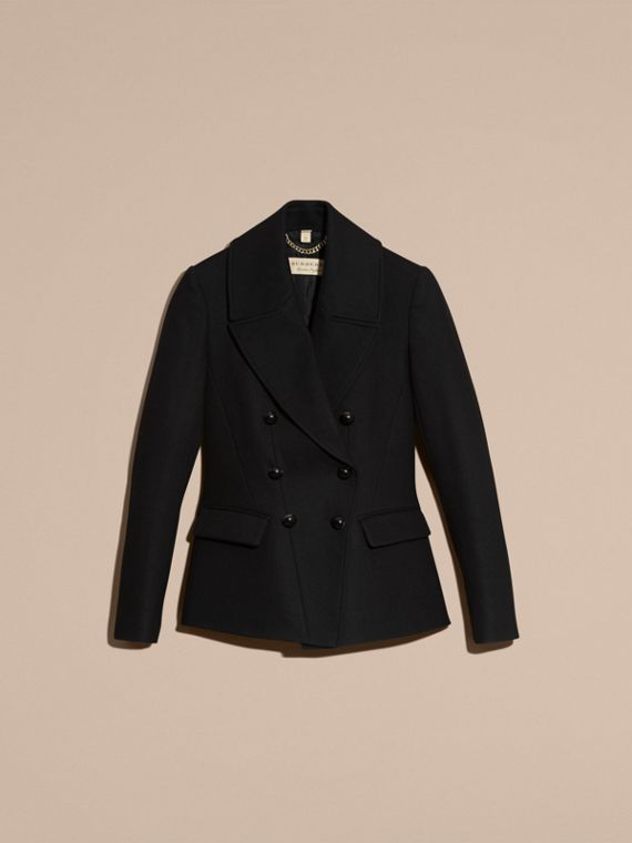 Tailored Wool Blend Jacket in Black - Women | Burberry - cell image 3