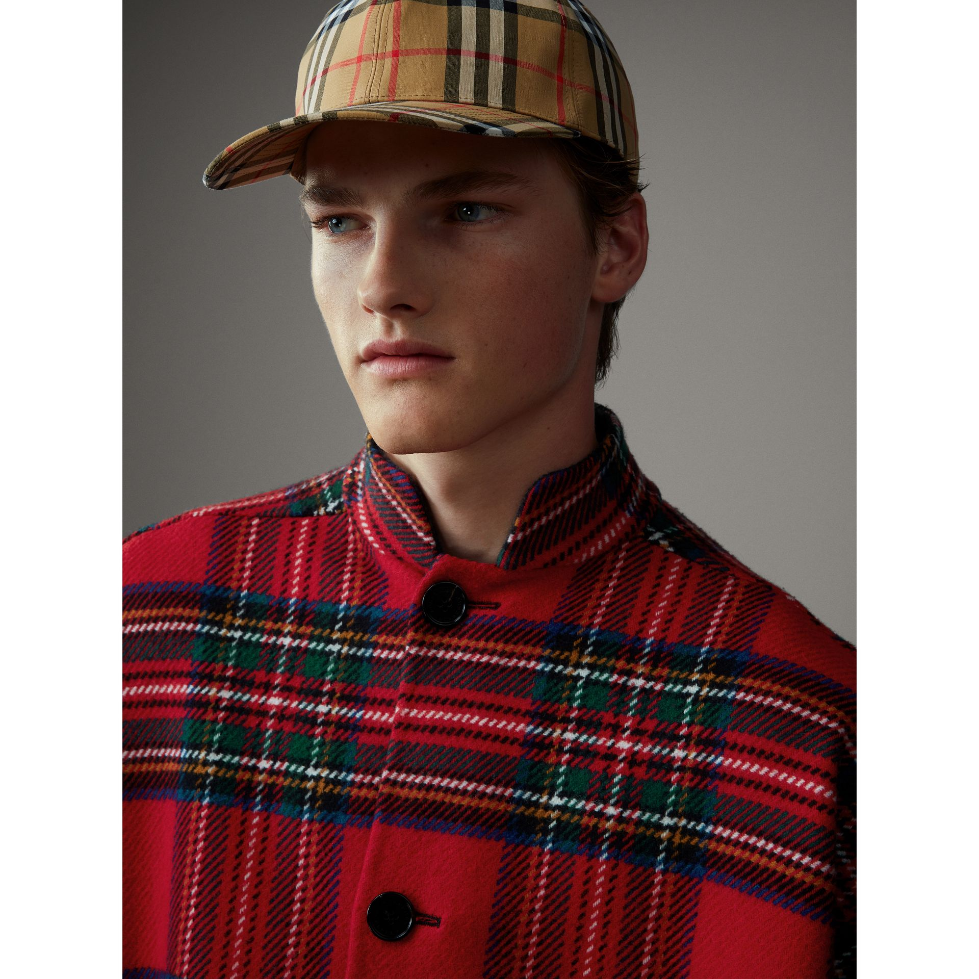 Reversible Tartan Wool Cashmere Poncho in Bright Red/dark Grey - Men | Burberry - gallery image 7