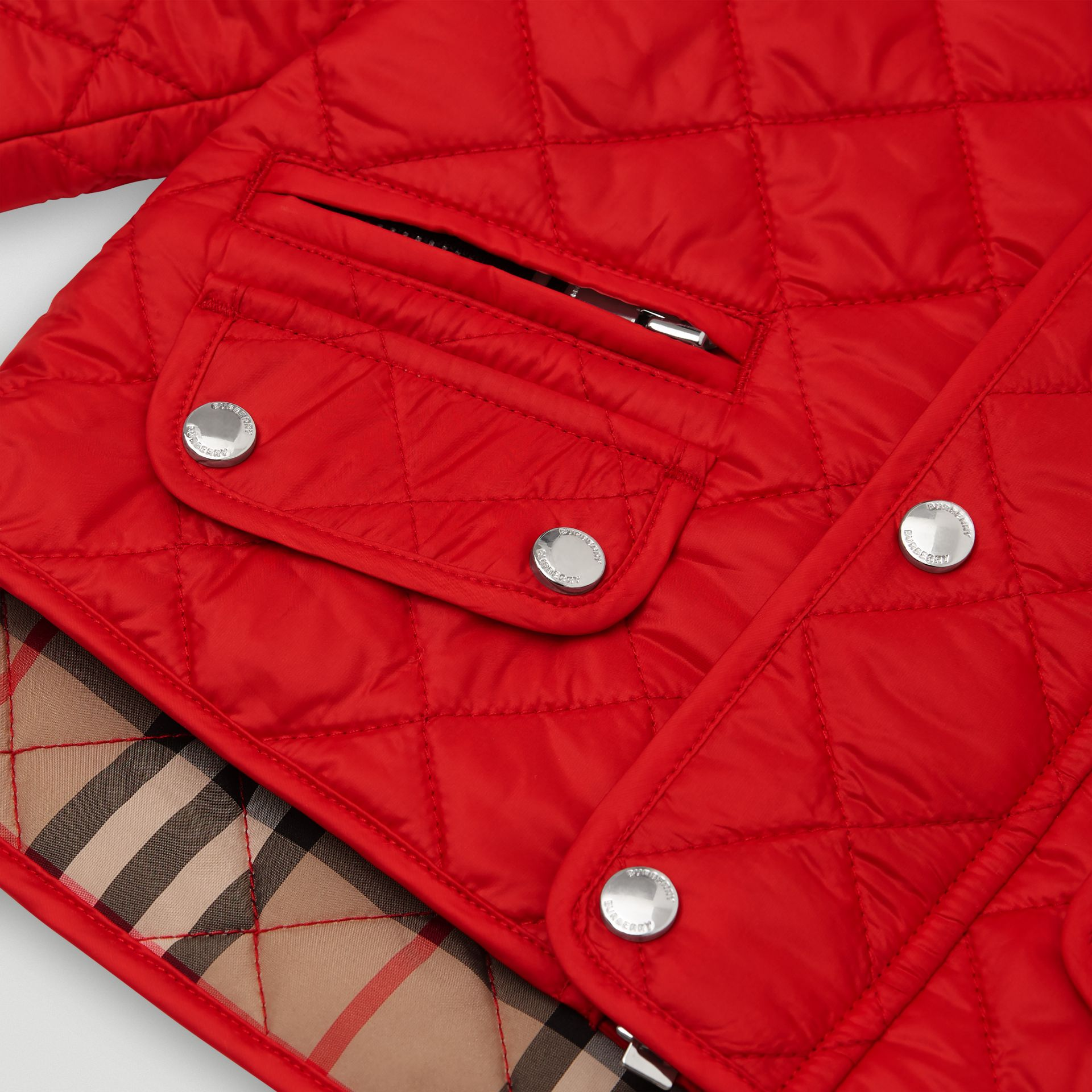 Lightweight Diamond Quilted Jacket in Bright Red - Children | Burberry United Kingdom - gallery image 1