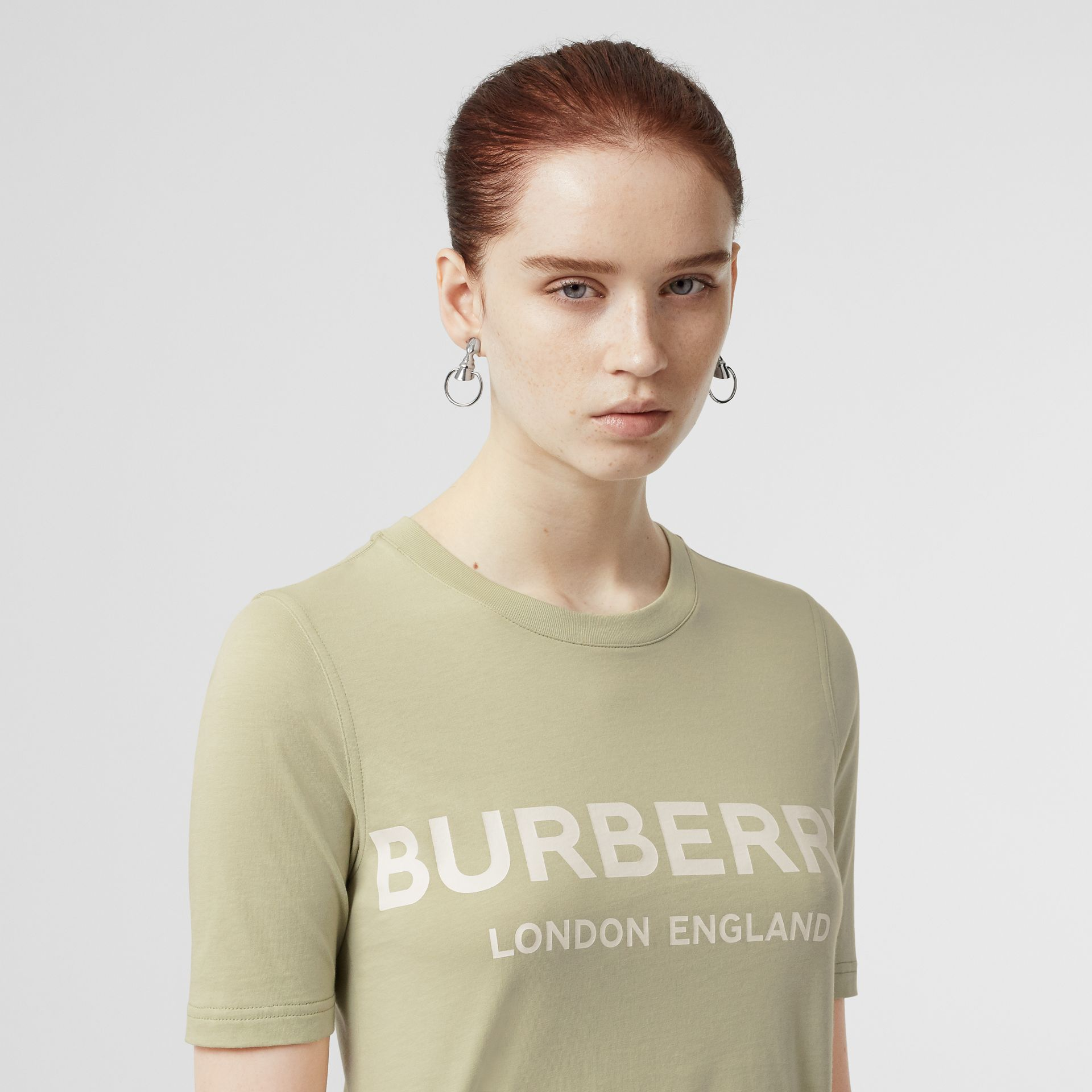 Logo Print Cotton T-shirt in Pale Apple Green - Women | Burberry - gallery image 1