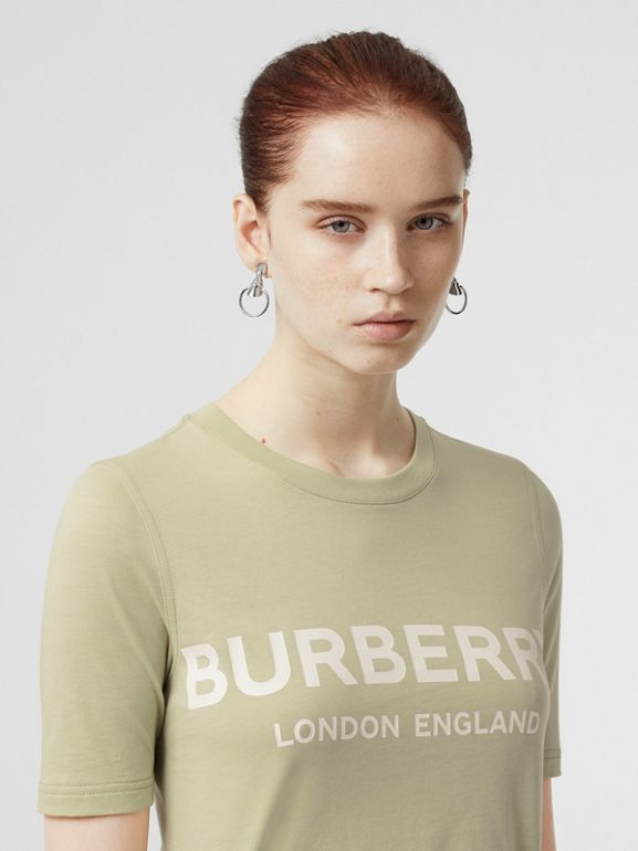 Logo Print Cotton T-shirt in Pale Apple Green - Women | Burberry - cell image 1