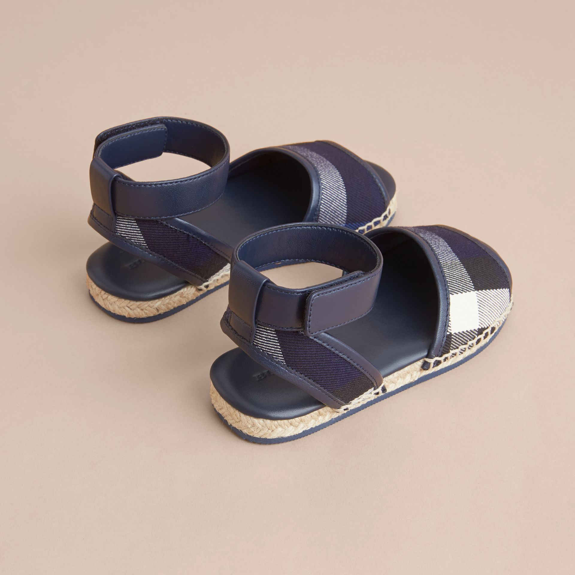 Leather Ankle Strap and House Check Espadrille Sandals in Bright Sapphire - gallery image 4