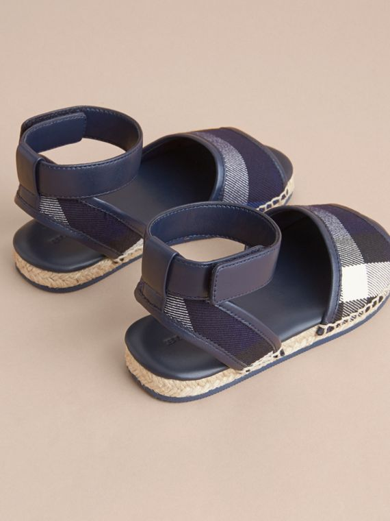 Leather Ankle Strap and House Check Espadrille Sandals in Bright Sapphire - cell image 3
