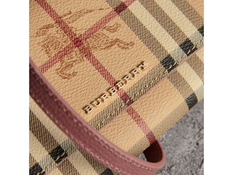 Leather Trim Haymarket Check Wallet with Chain in Light Elderberry - Women | Burberry - cell image 1