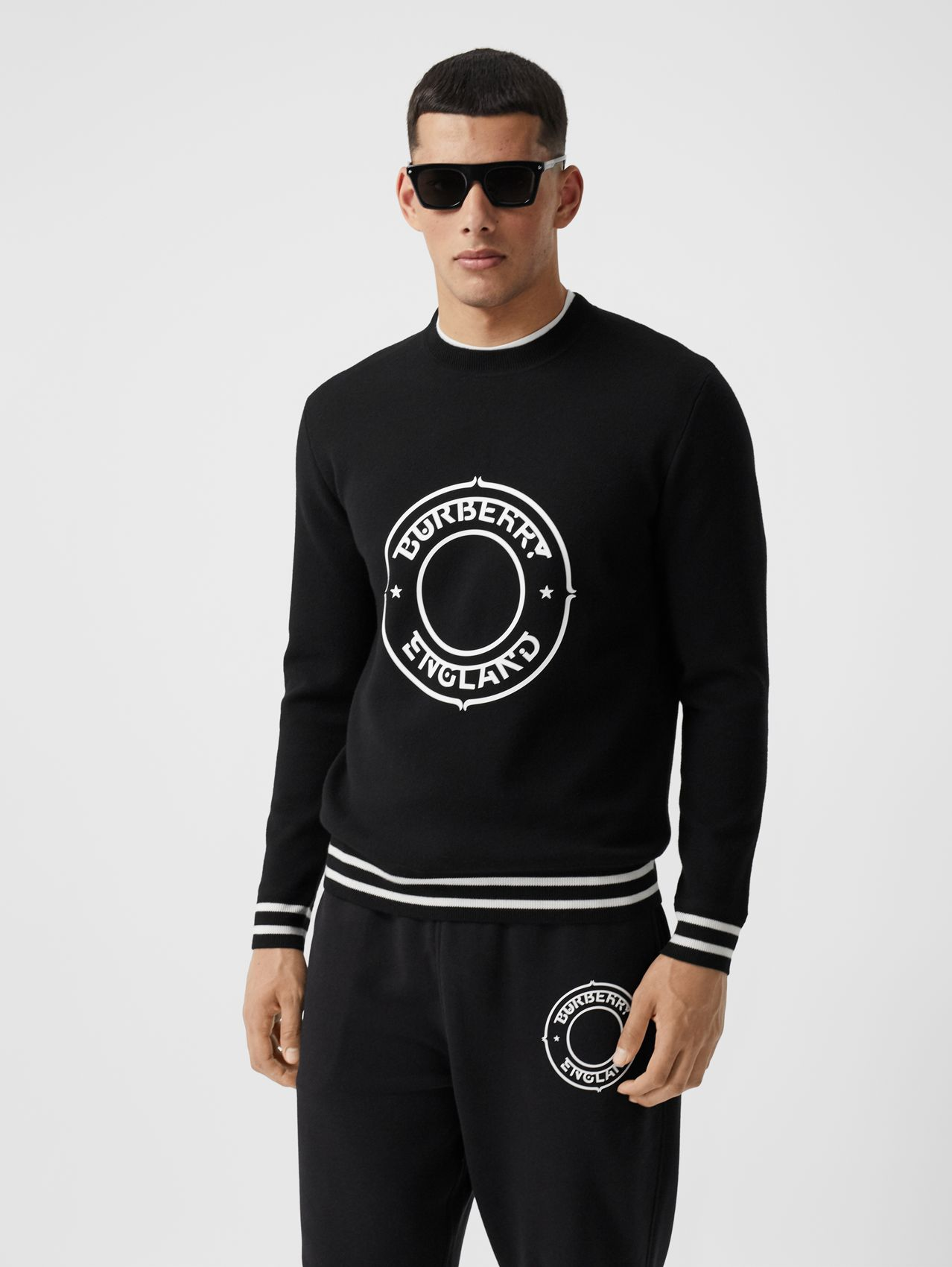 Logo Graphic Print Technical Wool Sweater in Black