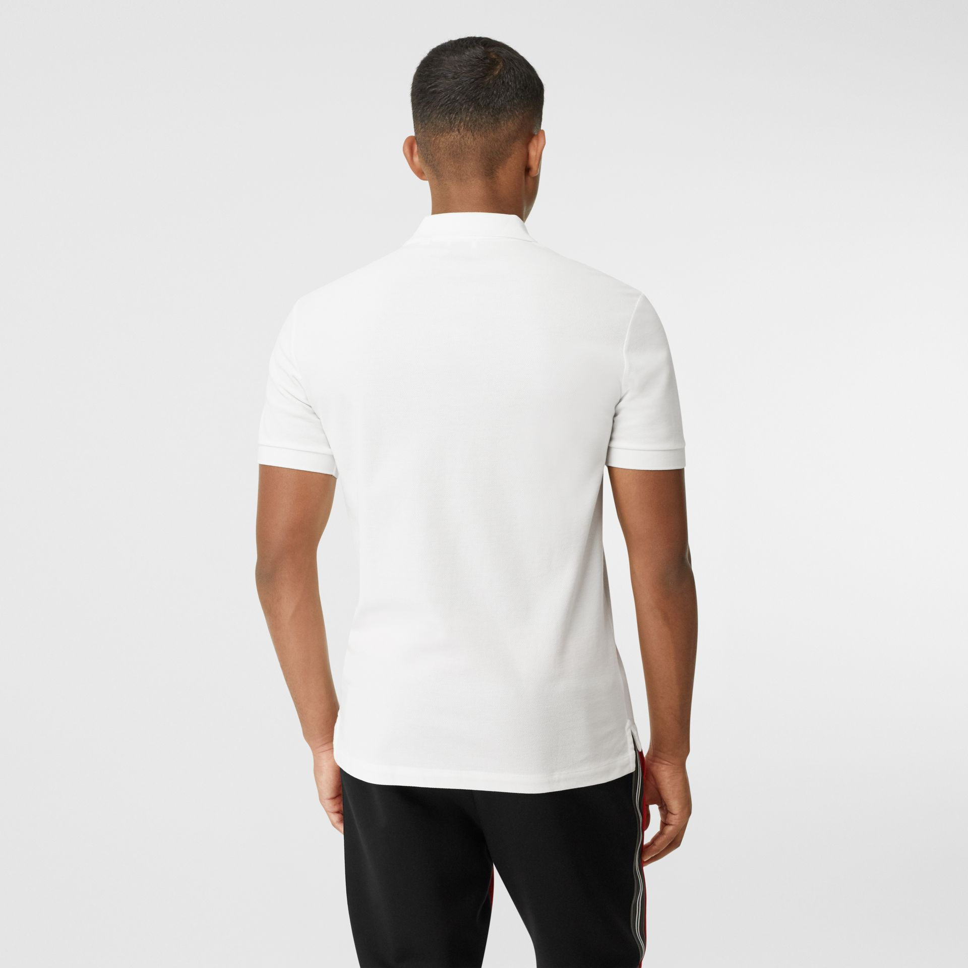 Contrast Logo Graphic Cotton Piqué Polo Shirt in White - Men | Burberry United Kingdom - gallery image 2