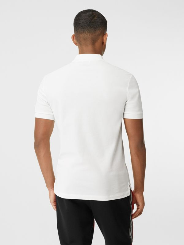Contrast Logo Graphic Cotton Piqué Polo Shirt in White - Men | Burberry - cell image 2