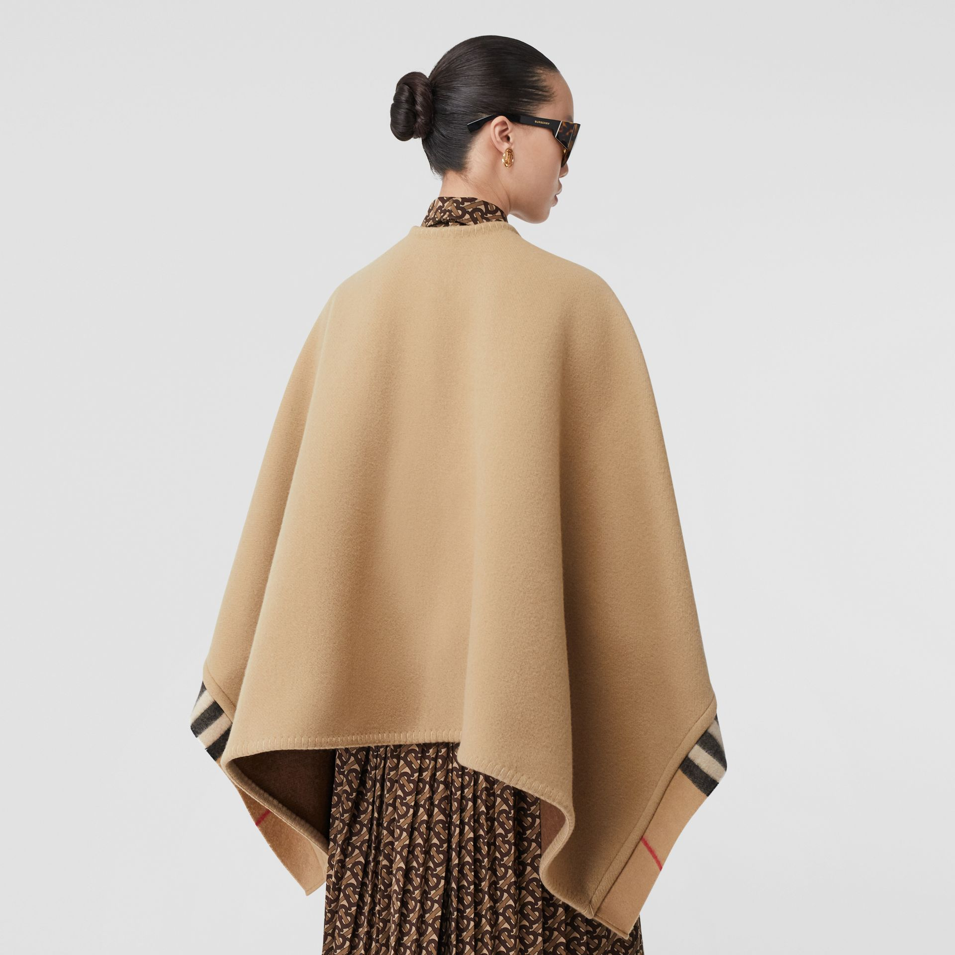 Check Trim Wool Cashmere Cape in Archive Beige - Women | Burberry - gallery image 2