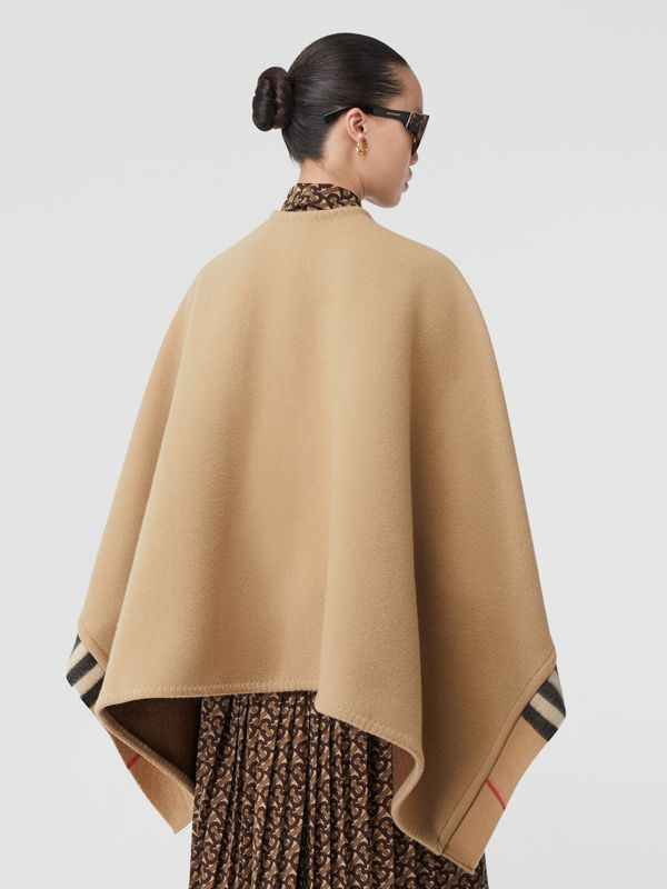 Check Trim Wool Cashmere Cape in Archive Beige - Women | Burberry - cell image 2