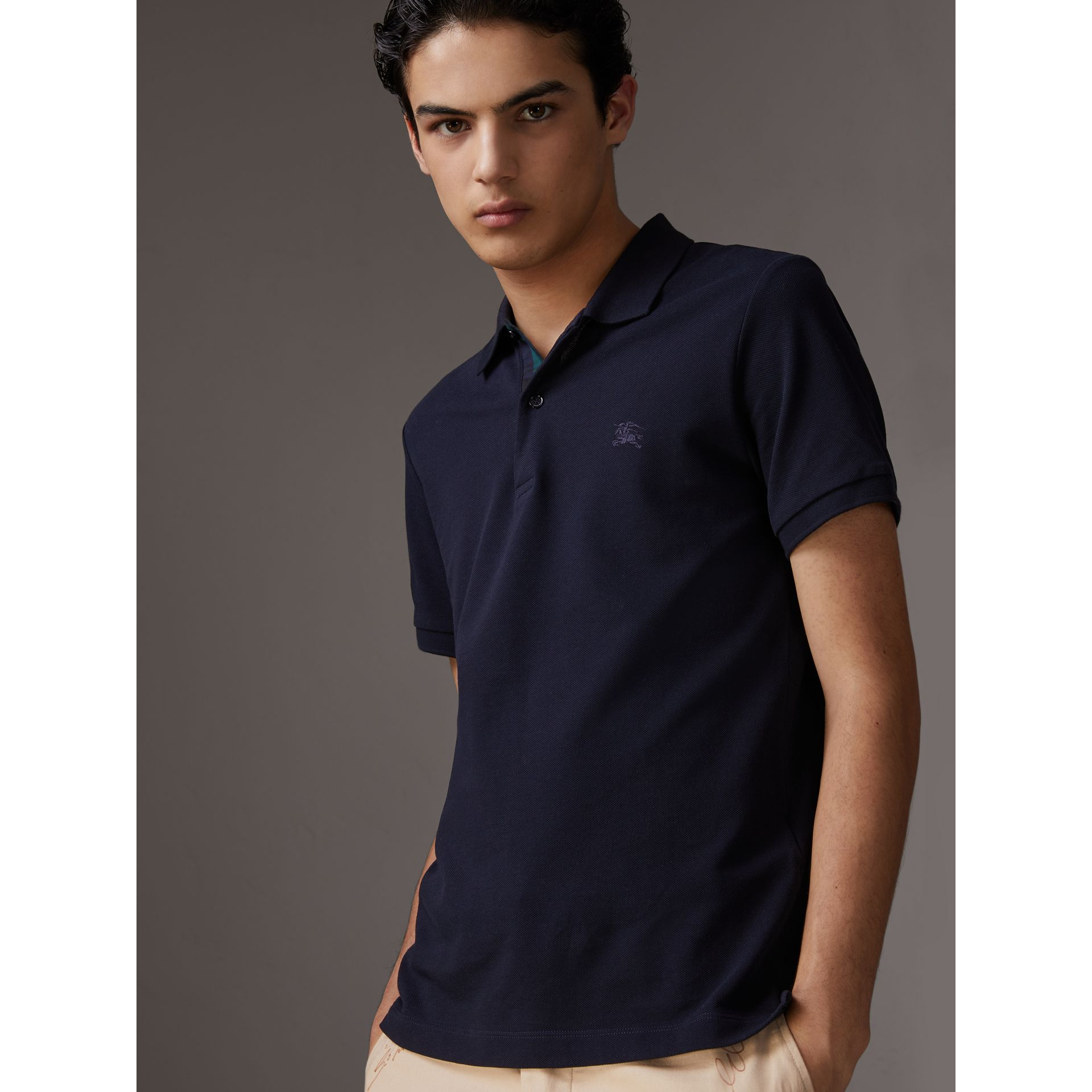 Tartan Trim Cotton Piqué Polo Shirt in Dark Navy - Men | Burberry - gallery image 4