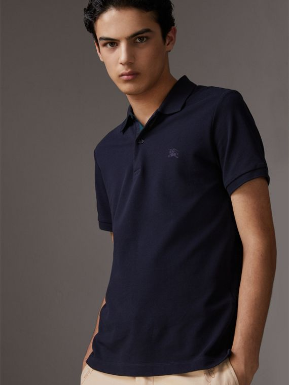 Tartan Trim Cotton Piqué Polo Shirt in Dark Navy