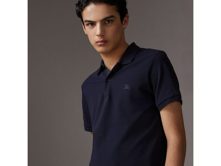 Tartan Trim Cotton Piqué Polo Shirt in Dark Navy - Men | Burberry - cell image 4