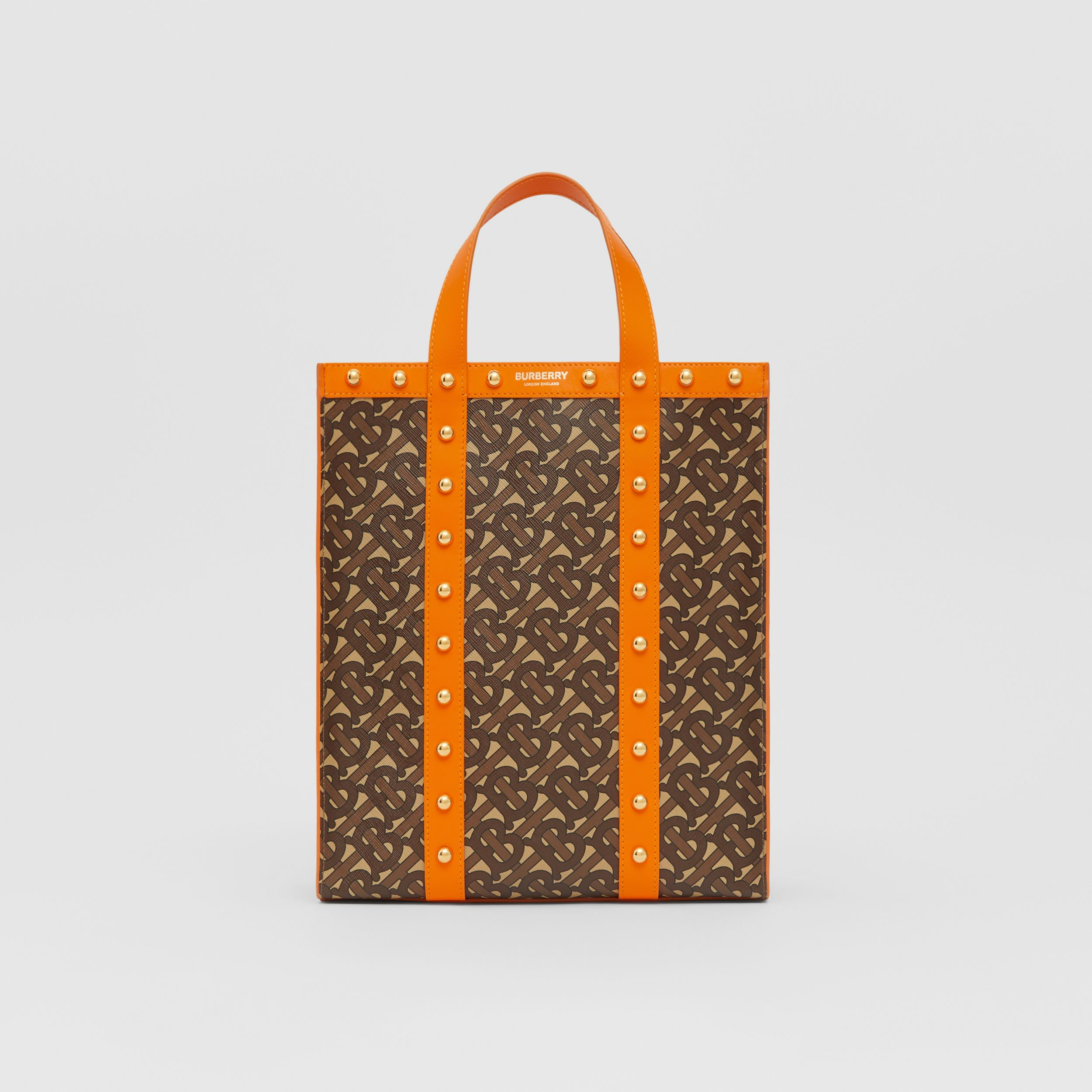 Small Monogram Print E-canvas Portrait Tote Bag in Bright Orange - Women | Burberry - 1
