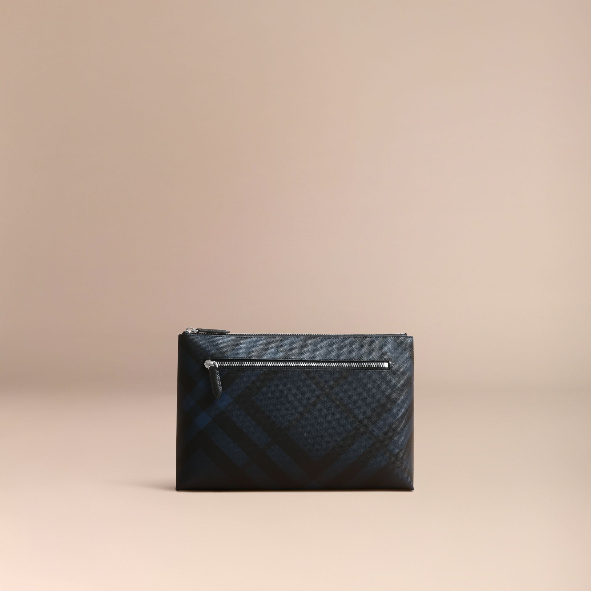 Large London Check Zip Pouch in Navy/black - Men | Burberry - gallery image 6
