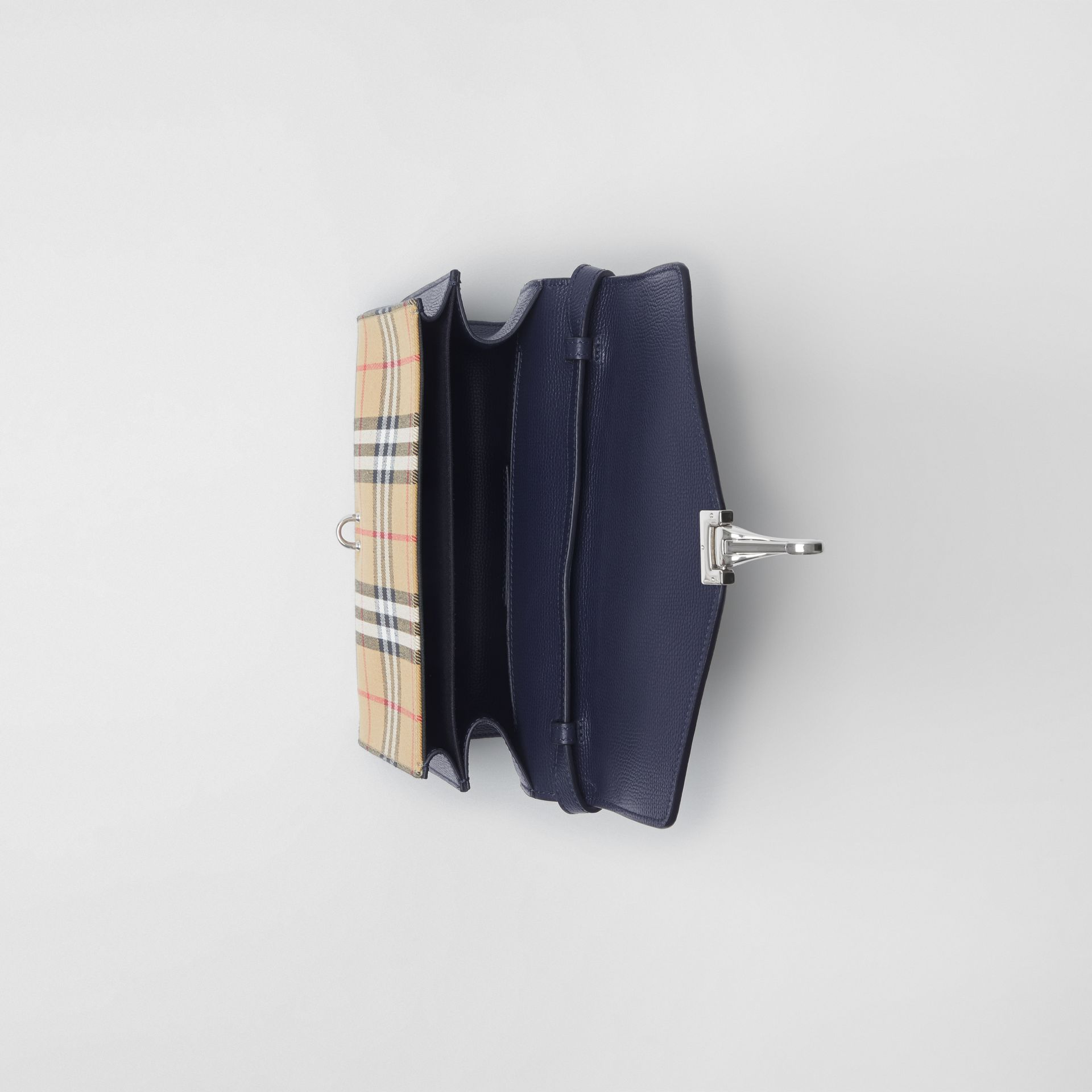 Small Vintage Check and Leather Crossbody Bag in Regency Blue - Women | Burberry - gallery image 3