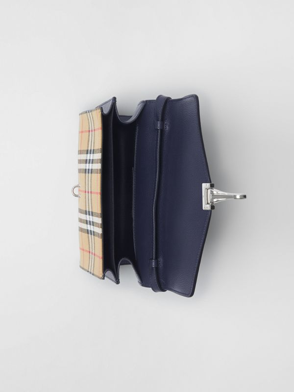 Small Vintage Check and Leather Crossbody Bag in Regency Blue - Women | Burberry - cell image 3
