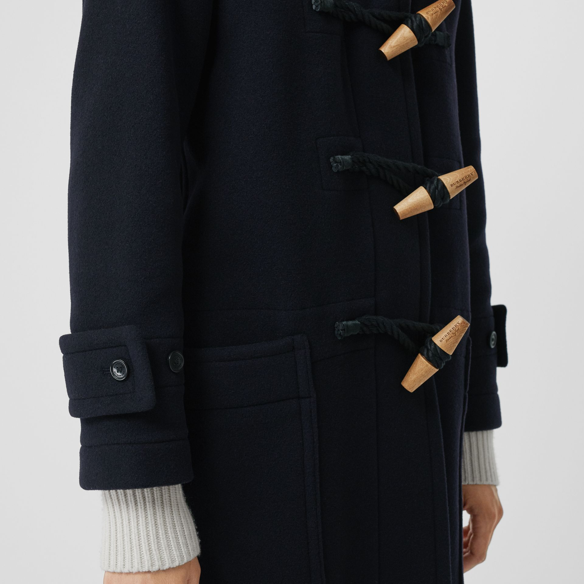 Vintage Check Detail Wool Blend Duffle Coat in Navy - Women | Burberry - gallery image 1