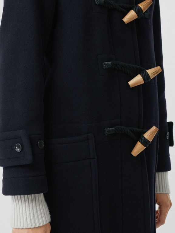 Vintage Check Detail Wool Blend Duffle Coat in Navy - Women | Burberry - cell image 1
