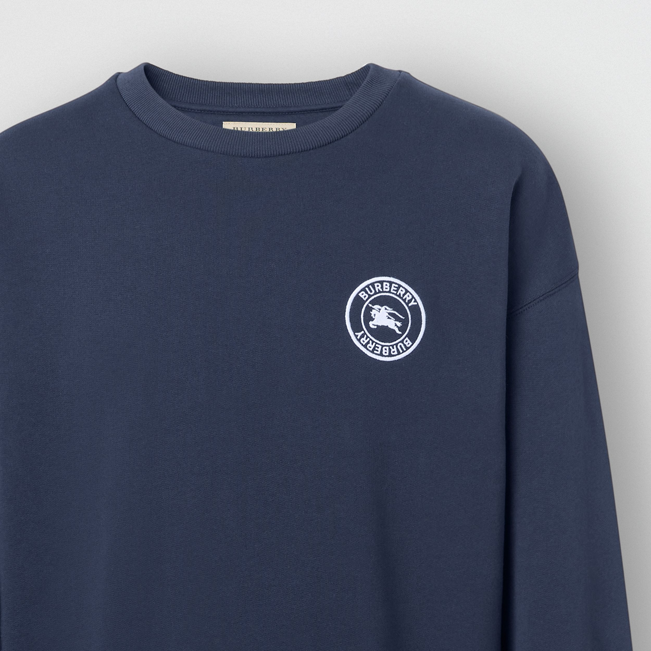 Embroidered Logo Jersey Sweatshirt in Navy - Men | Burberry - 2