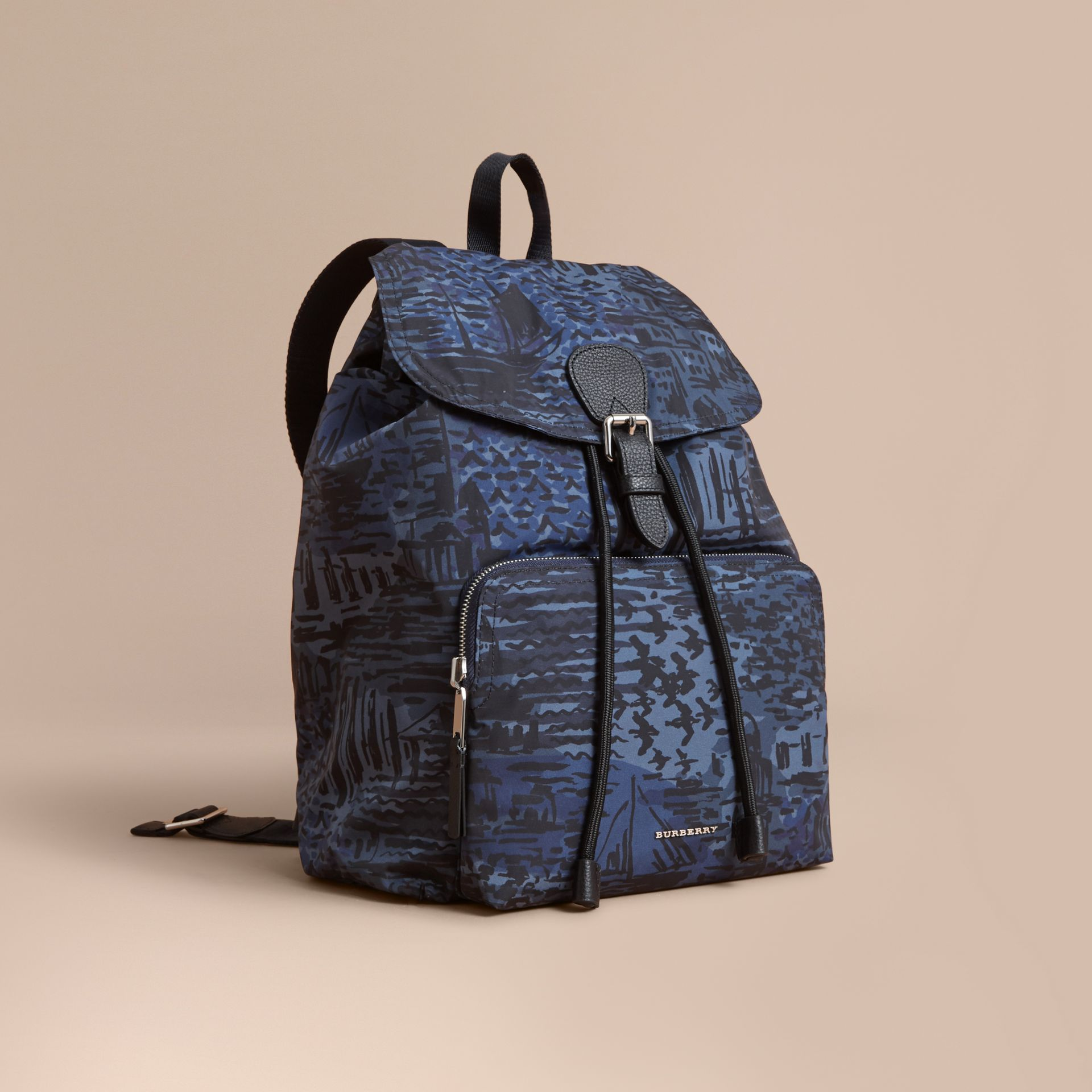 British Seaside Print Technical Packaway Rucksack Bright Navy - gallery image 1