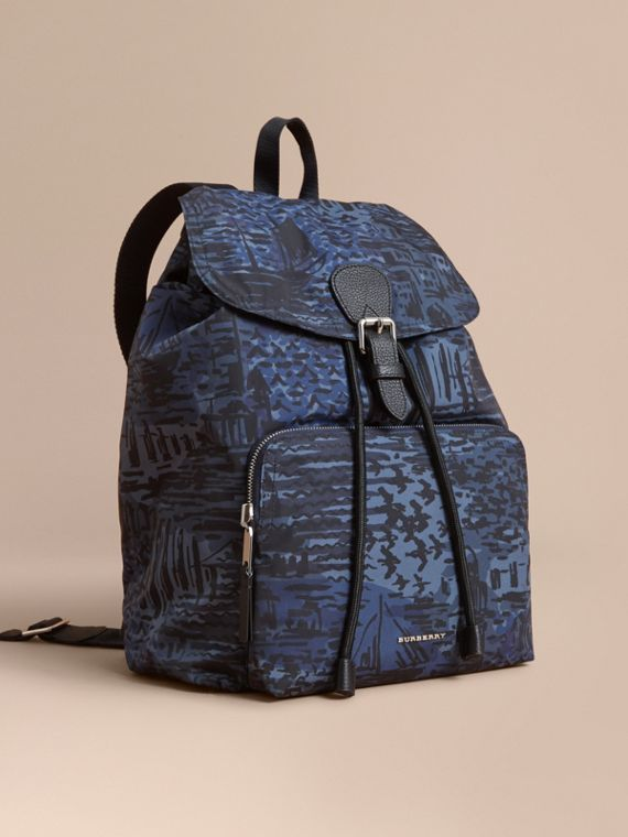 British Seaside Print Technical Packaway Rucksack Bright Navy