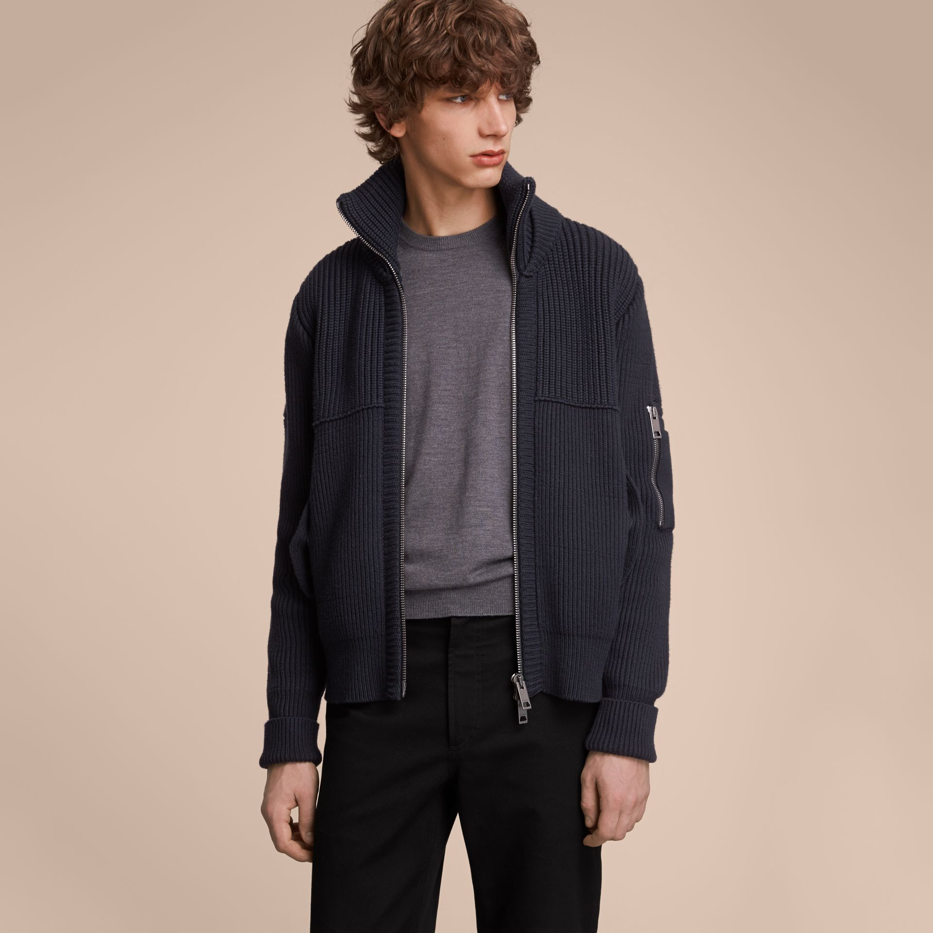 Knitted Cotton Cashmere Flight Jacket in Navy - Men | Burberry Australia - gallery image 6