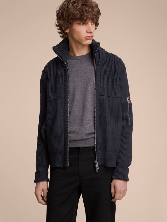 Knitted Cotton Cashmere Flight Jacket in Navy