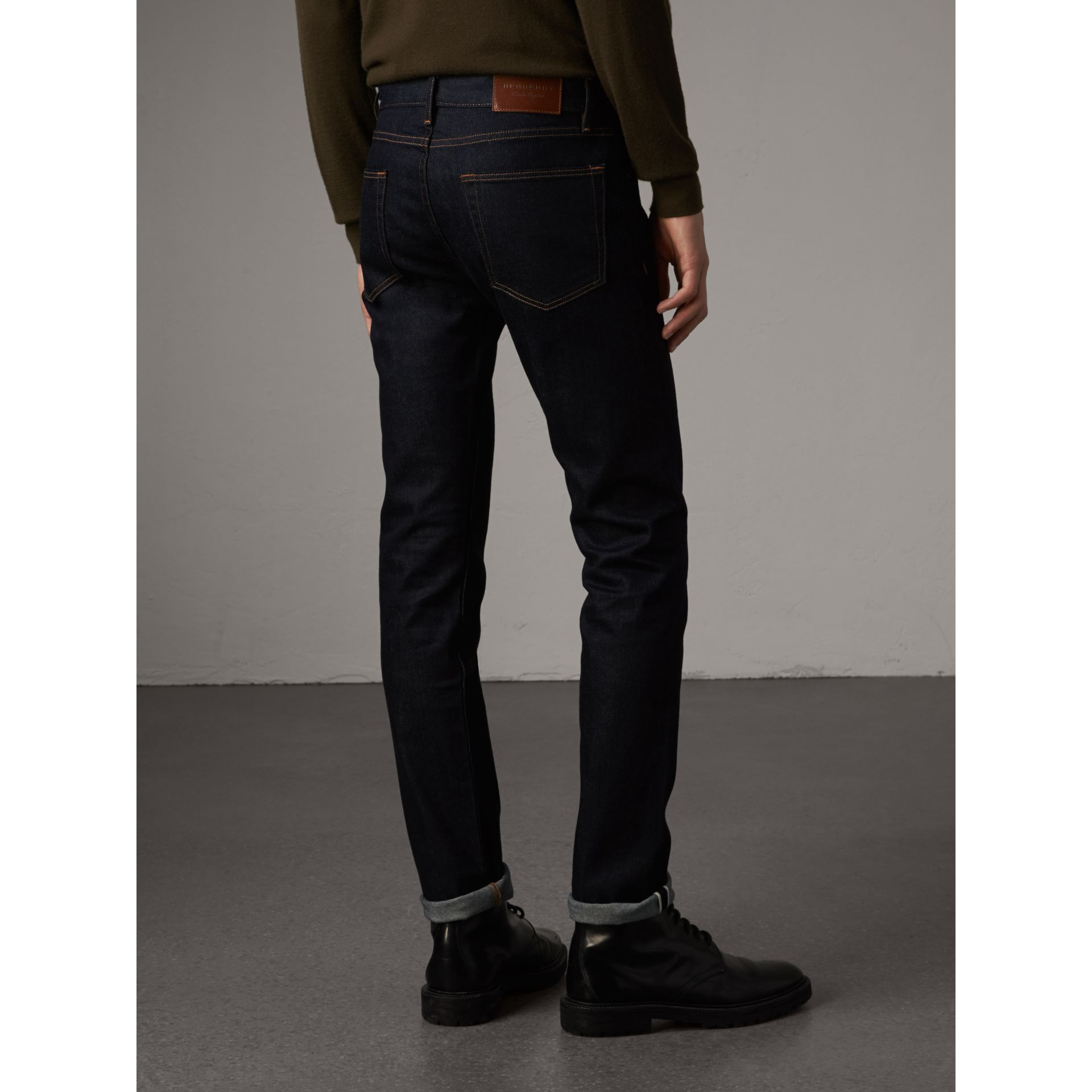 Slim Fit Stretch Japanese Selvedge Denim Jeans in Dark Indigo - Men | Burberry Canada - gallery image 3
