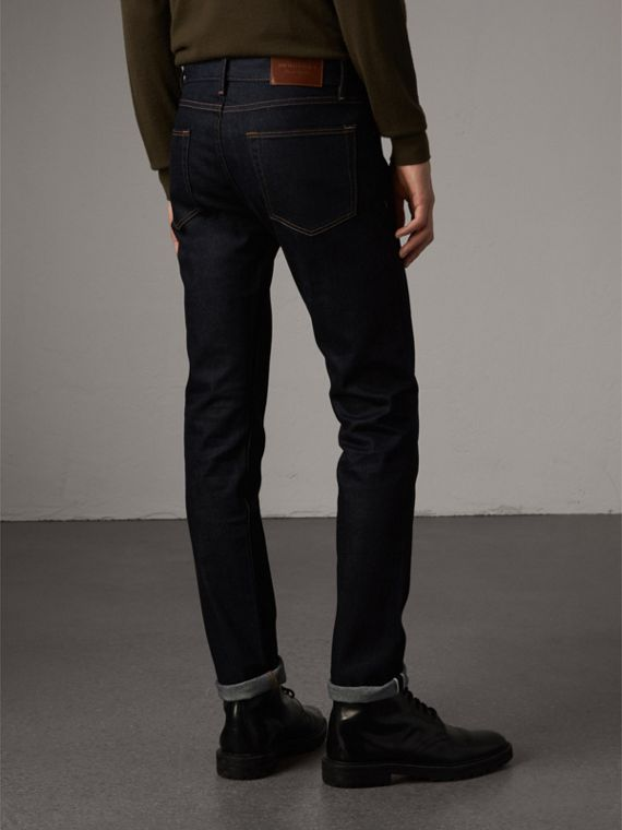 Slim Fit Stretch Japanese Selvedge Denim Jeans in Dark Indigo - Men | Burberry Canada - cell image 2