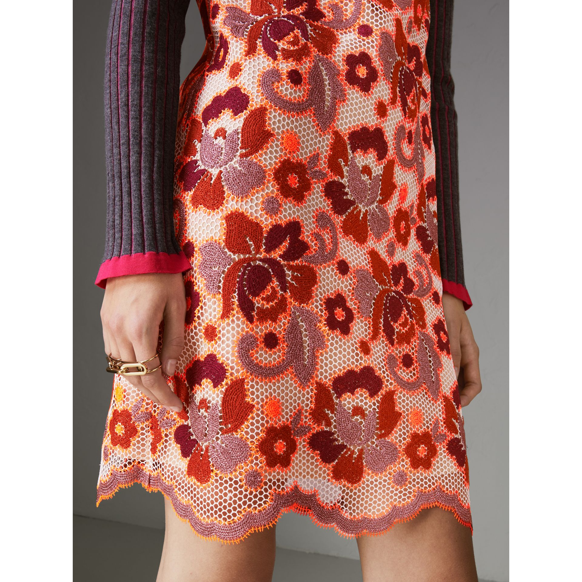 Floral Crochet Shift Dress in Bright Orange - Women | Burberry United States - gallery image 4