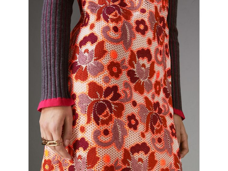 Floral Crochet Shift Dress in Bright Orange - Women | Burberry United Kingdom - cell image 4