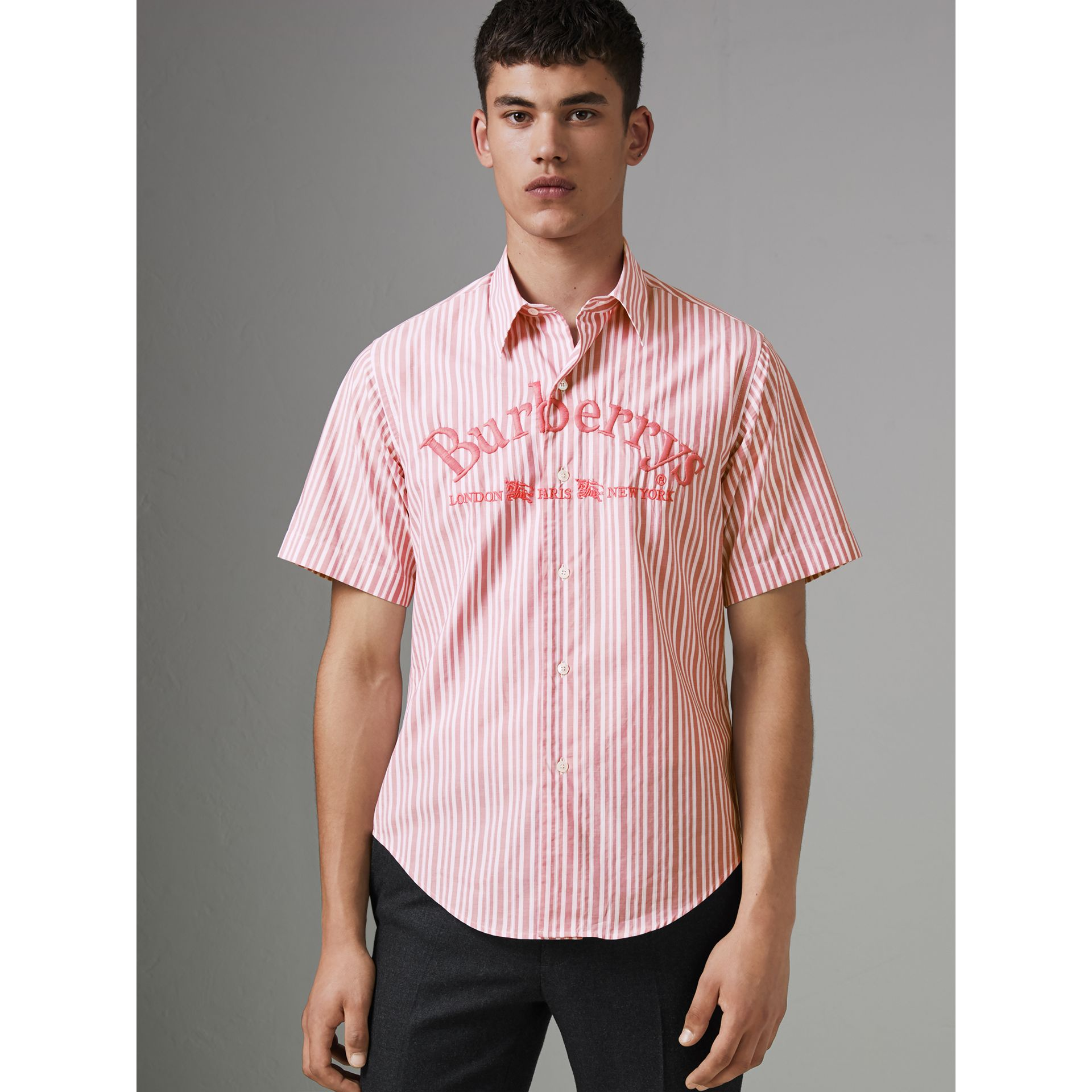Embroidered Archive Logo Striped Short-sleeve Shirt in Light Pink - Men | Burberry Australia - gallery image 4
