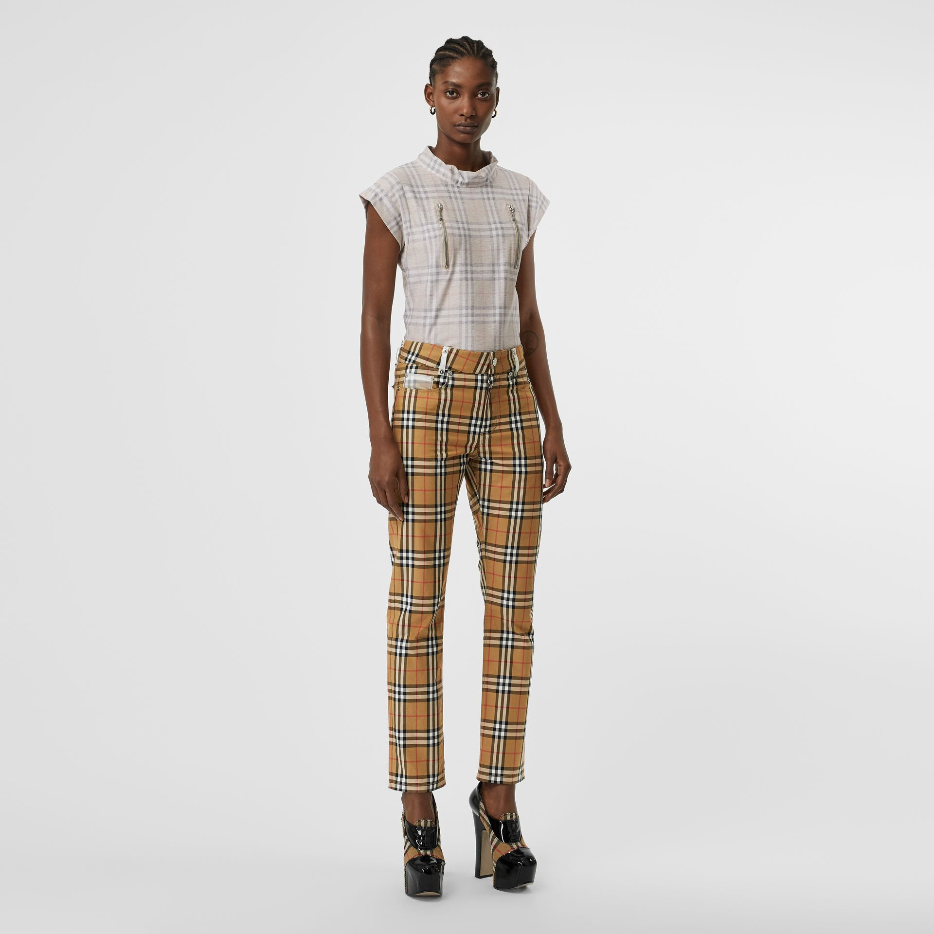 Zip Detail Vintage Check Cotton T-shirt in Antique Yellow - Women | Burberry - gallery image 0