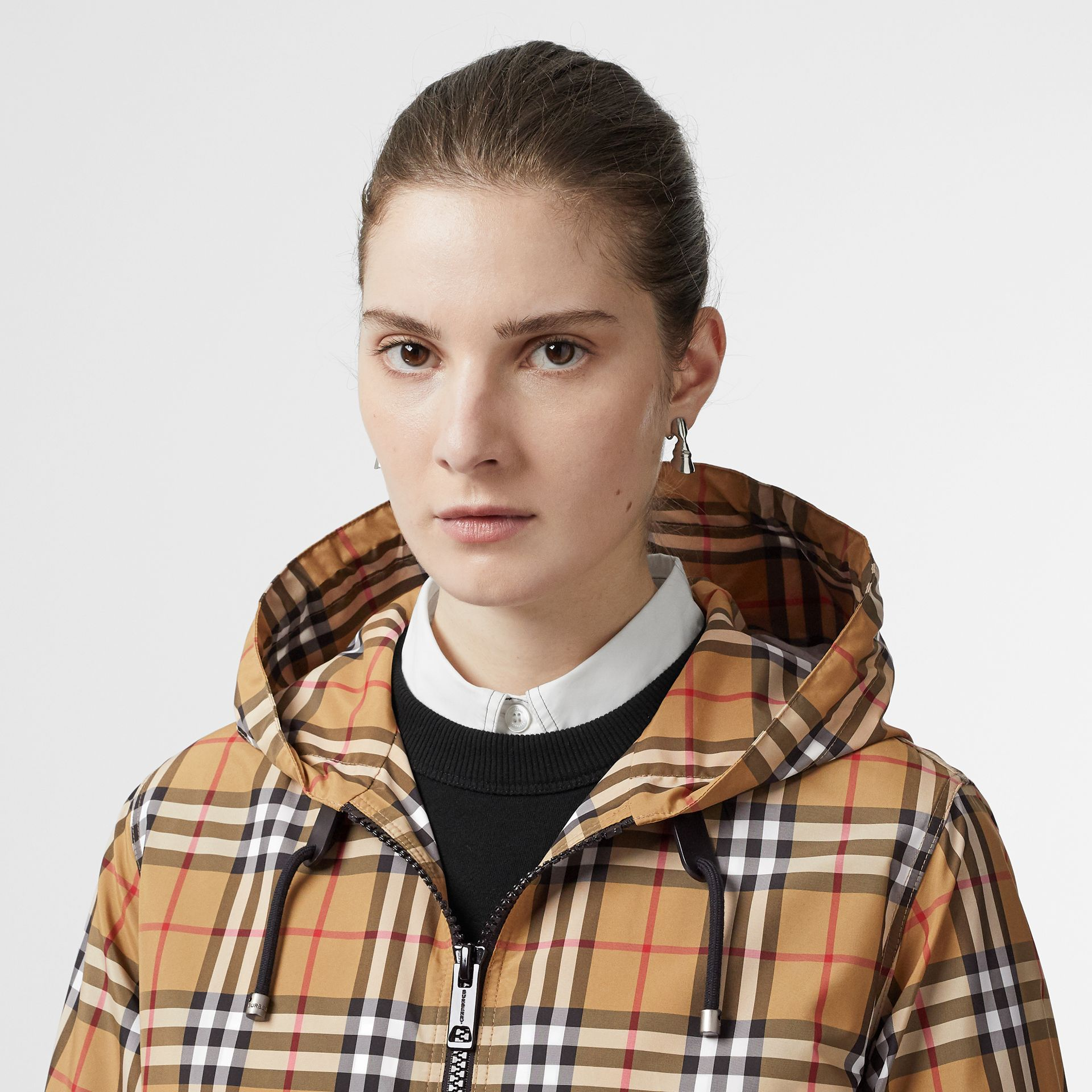 Vintage Check Lightweight Hooded Jacket in Antique Yellow - Women | Burberry - gallery image 1