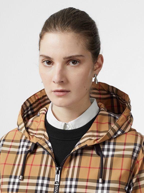 Vintage Check Lightweight Hooded Jacket in Antique Yellow - Women | Burberry - cell image 1