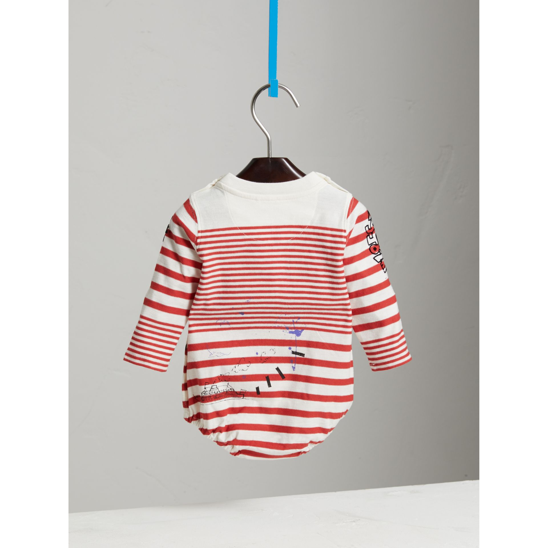 SW1 Print Striped Cotton Jersey Bodysuit in Bright Red/natural White | Burberry Australia - gallery image 3