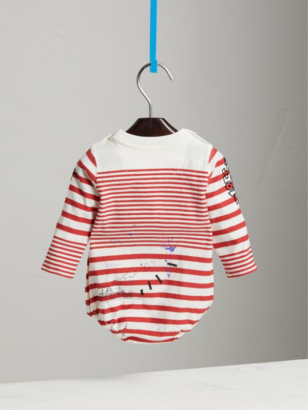 SW1 Print Striped Cotton Jersey Bodysuit in Bright Red/natural White - Children | Burberry United States - cell image 3
