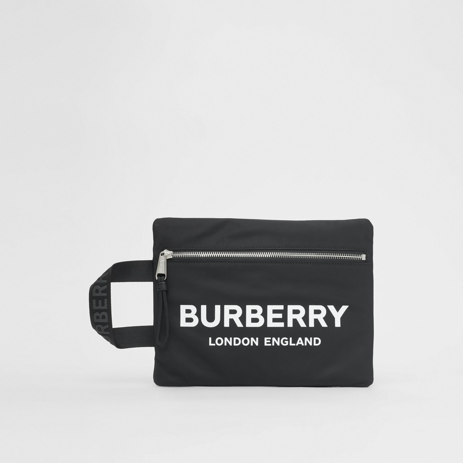 Logo Print ECONYL® Portrait Pouch in Black | Burberry Singapore - gallery image 3