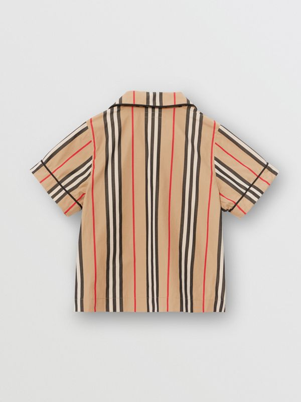Short-sleeve Icon Stripe Cotton Poplin Shirt in Archive Beige | Burberry United States - cell image 3