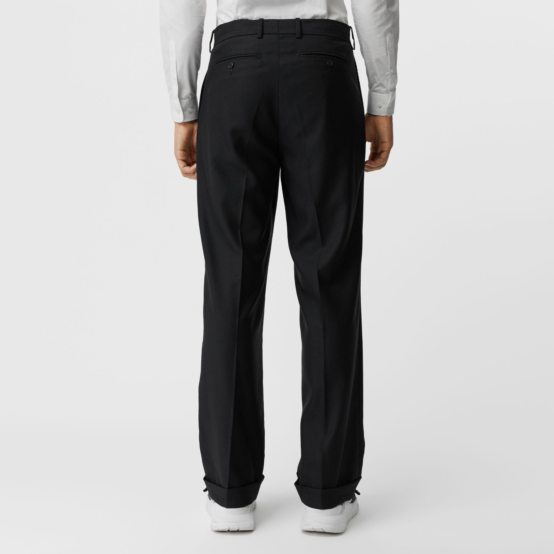 Wool Mohair Wide-leg Tailored Trousers in Black - Men | Burberry United Kingdom - gallery image 2